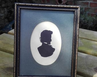 Antique Victorian Framed and matted Silhouette of a Gentleman