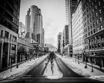 McGill College Avenue Downtown Montreal Photo Fine Art Photography Montreal in Winter Urban View Mont-Royal Downtown Architecture