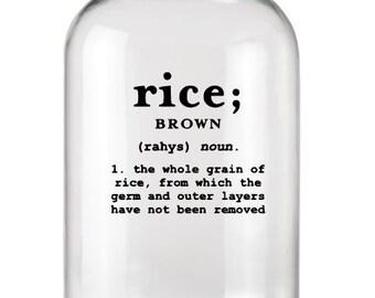 Rice Label+Kitchen Label+Rice Decal+Rice Sticker+Kitchen Stickers+Kitchen Organization+Definition Decal+Definition Label+Vinyl Decal+Food