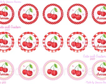 Cherry Singles- Bottle Cap Images- INSTANT DOWNLOAD- Red and Pink- Cherry Bottle Caps- Cherries- 1 Inch Circles- Cherry Hair Bow- BCIs