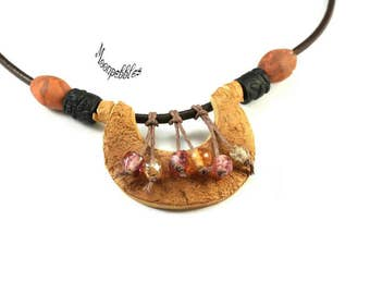 A Little Bit Country polymer clay and leather necklace