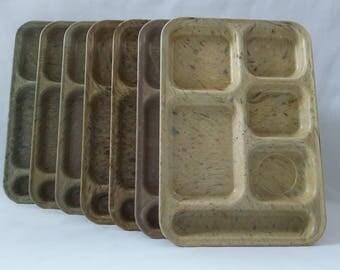 Vintage EXCELLENT CONDITION Set of (7) Dallas Ware Confetti Cafeteria Food Tray - P-71, Plastic Manufacturing Co. Dallas Texas, 1960's