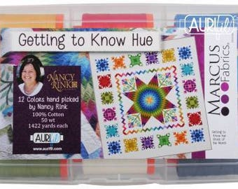 Getting to Know Hue by Nancy Rink for Aurifil Thread Set 50 wt 12 Large Sppols 1422 yards