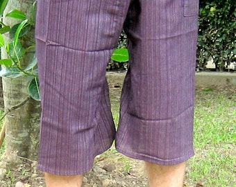 Yoga Fisherman Pants Thai Pants Capri Fisherman Thai Fisherman Pant Wrap Yoga Pants Short Hippie Pants Burning Man Free Shipping*CF-W*violet