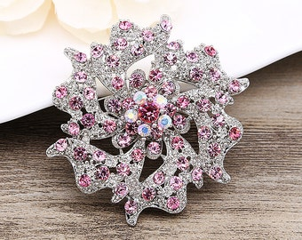 Rhinestone Brooch Crystal Brooch Silver Pink Brooch Wedding Brooch Wedding Bouquet Brooch Wedding Gift Wedding Ornament Corsage Pin Sash Pin