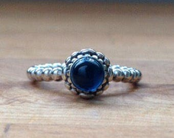Dark crystal blue Droplet Ring