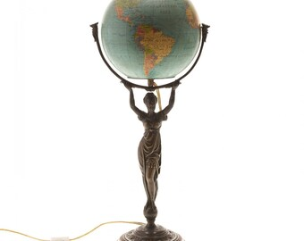 Rare French Art Nouveau bronze neoclassical lady terrestrial globe lamp circa 1910