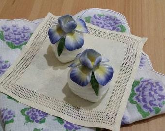 Vintage 1986 Pia Bone China Iris Salt and Pepper Shakers Spring Decor