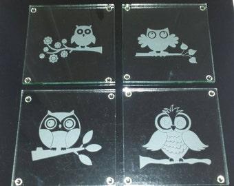 Owl Glass Coasters