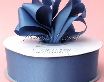 1/4 inch x 100 yards of Smoke Blue Double Face Satin Ribbon