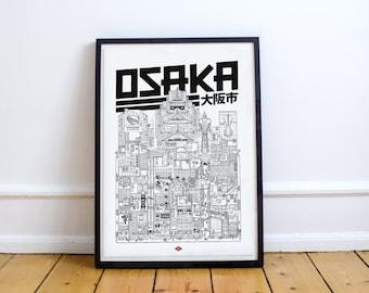 Osaka - series illustration * Travel With Me * | Black and white | 21 x 29.7 cm
