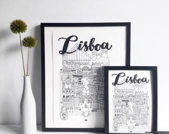 Lisboa - series illustration * Travel With Me * | Black and white | 21 x 29.7 cm