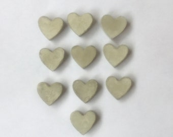10 solid concrete small hearts