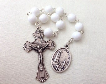 Our Lady of Fatima Pocket Rosary, Rosary Tenner, One decade rosary, White rosary