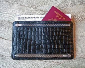 NEW!  Genuine Leather Multi-Currency Wallet / Travel Wallet Black Noir