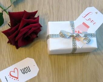 Etiquettes cadeaux printable St Valentin- Pour les amoureux- Pour offrir un cadeau à la St Valentin- Rouge et noir- Planche d'étiquettes