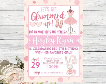 Glamour Make up Dress Up Party Personalized birthday invitation-  ***Digital File*** (Glam-dressup)