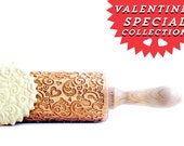 Rolling Pin engraved FLOWERS & HEARTS embossing Rolling Pin Valentine gift