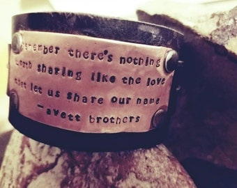 """Avett Brothers Lyrics """"There's Nothing Worth Sharing like the love...""""  Copper Vintage Leather Bracelet Band"""