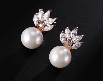 Pearl and Rose Gold Earrings, Bridal Earrings, Cubic Zirconia Bridal Jewelry, Wedding Jewelry, Bridesmaid Earrings