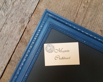 LARGE Magnetic Chalkboard Distressed Nautical Blue Vintage Style Frame -Magnetic Board - Chalkboard - Kitchen Magnet Board