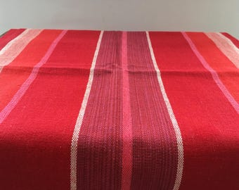 Vintage Swedish table runner Handwoven runner Striped linen table runner Red striped runner
