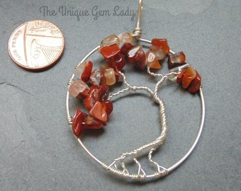 Cellulite Blend Wire Wrapped Tree Of Life Pendant ~ Gemstone Crystal Healing ~ Hand Crafted Ooak ~ Carnelian & Poppy Jasper