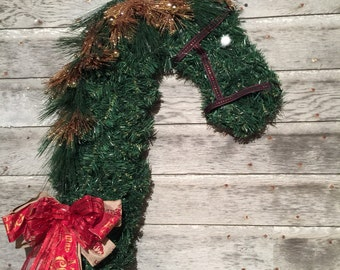 Horse head wreath, green horse wreath, decorative horse wreath