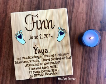 Yaya gifts, New Grandma gift, Mothers Day gift, Gift for Mom, Grandma gifts, Personalized wood sign, A poem for Grandma, Custom wood sign