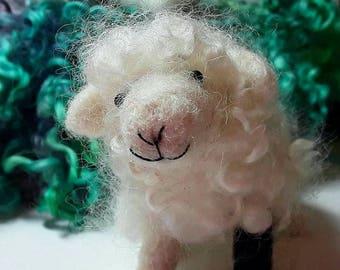 Needle felting kit,needle felted sheep and lamb, wool curls, natural wool roving , beginners felting kit, miniature felting sculptures