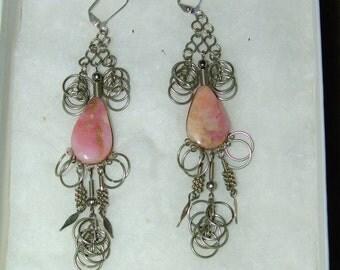 Vintage layered rose quartz gemstones & silver rings earrings