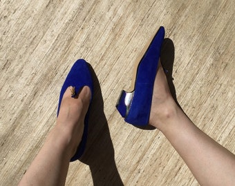 Cobalt Blue Suede Arabian Tassel Pumps | 80s vintage | pumps | low heels | Working Girl | Designing Women | size 6 | size 7
