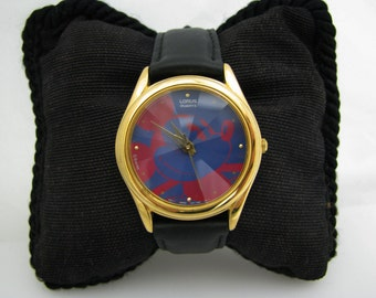 Retro - Quartz Lorus Mickey Mouse Watch with Beveled Crystal - Red & Blue Dial