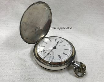 Handsome Antique 1880s Waltham Coin Silver Appleton Tracy Model Pocket Watch