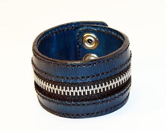 Blue Zipper Bracelet. Handmade Bracelet. Blue Cuff. Zipper Cuff. Blue Zipper.Handmade Accessories.