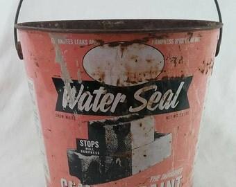 Vintage water seal cement paint metal advertising bucket