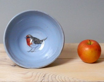 Robin bowl - Bird bowl - Handmade bowl - cereal bowl - candy dish - trinket dish - bird lovers gift - mothers day gift