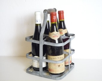 Antique French zinc Bottle Carrier / wine carrier 4 bottles