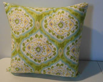 Pillow cover, Ikat print, green and multi colors, 100% cotton, envelope back, 16 X 16in., FREE SHIPPING in USA!