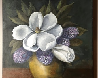 Oil Painting on canvas - White flower with lilacs