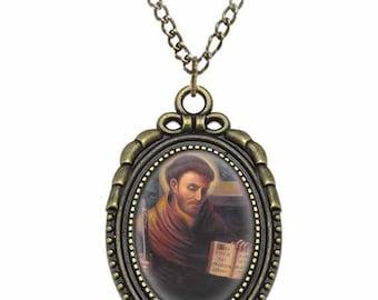 St Nicholas of Tolentino Catholic Necklace Bronze Medal w Chain Oval Pendant Saint Vintage