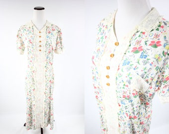 1930's Cotton Floral & Butterfly Print Short-sleeve Dress
