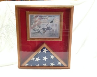 3x5 Flag and Certificate Display, Flag Display Case, US Flag and Certificate Display Case