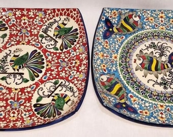 Square beautifully decorated plates from Uzbekistan, handmade.
