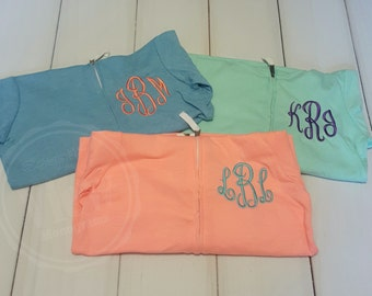 Childrens Monogrammed Custom Zip up Jacket--Girls sizes Infants to 16-- Customized with several color options