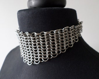 Stainless Steel European Chainmail V Choker - Gothic Chainmaille Collar Necklace