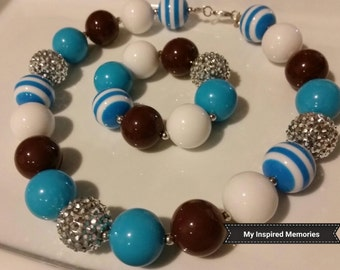 Free Shipping! Baby toddler blue brown silver bubblegum necklace and bracelet set