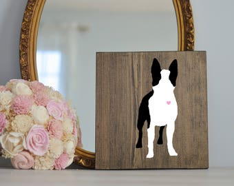 Hand Painted Boston Terrier Silhouette on Stained Wood, Dog Decor, Painting, Gift for Dog People, New Puppy Gift, Housewarming Gift