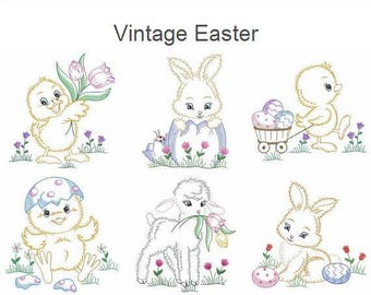 Vintage Easter Machine Embroidery Designs Pack Instant Download 4x4 5x5 6x6 hoop 10 designs APE2477