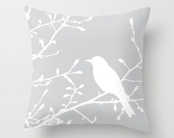 Bird on Branch pillow with insert  - Grey Decor - Grey pillow with insert  - Modern Home Decor - By Aldari Home